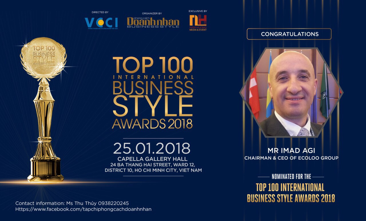 "Chairman – CEO of ECOLOO Group – Mr Imad Agi represents for Swedish entrepreneurs – ""Top 100 Business Style Awards 2018 will open the doors for investors and business people to collaborate"""