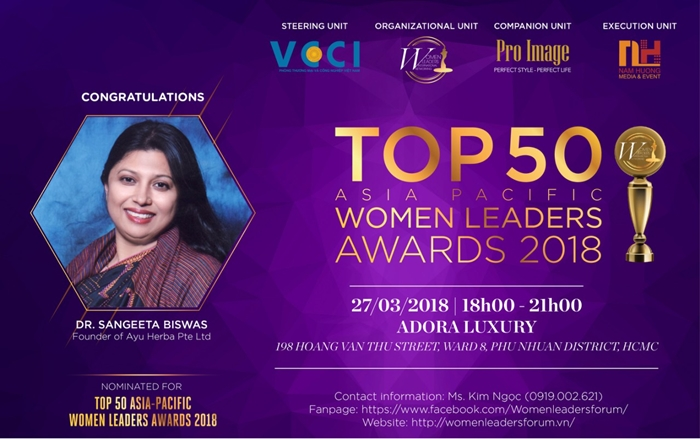 The first nominee of the Top 50 Asia Pacific Women Leaders Awards 2018